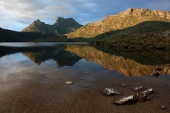 Tasmania's Cradle Mountain makes iconic status but is just one peak among many in a large wilderness of high moorland.
