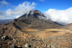 Volcanic mountains sit at the heart of the North Island of New Zealand in Tongariro National Park.