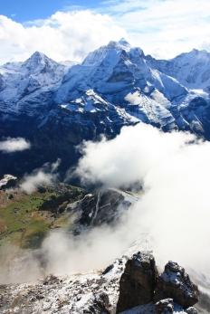 From Schilthorn in the Bernese Oberland, Switzerland's Jungfrau massif is home to famous peaks, epic train rides, and cheesy chocolatey cuckoo clocks